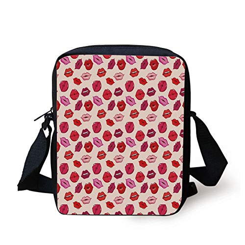 Sexy Plaid School Girl (Kiss,Vivid Colored Sexy Lips Glamour Fashion Cosmetics Make Up Theme Girls Pattern Decorative,Pink Red Rose Peach Print Kids Crossbody Messenger Bag Purse)