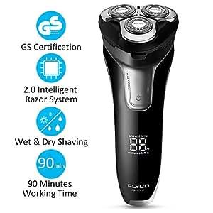 Rasierer Herren Elektrisch Rasierapparat Trockenrasierer IPX7 Wasserdicht LED Display Präzisionstrimmer Nass und Trockenrasierer für Männer FLYCO
