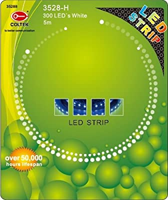 Coltek 3528-B FLEXIBLE STRIP SET - weiß/white- 300 LED´s - 5m - Band - Leiste - 5 Meter - IP55 - Indoor - OHNE NETZTEIL!!!