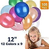 DealKits 108 x Luftballons Bunt Großpackung Helium - Metallic, Glänzend - XL 30cm , für zum Mädchen Geburtstag , Baby Shower, die Hochzeit