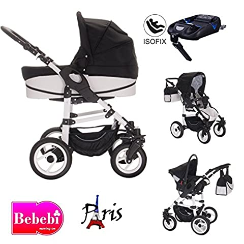 bebebi–Modèle Paris–Ensemble Poussette combinée 3en 1–Base Isofix & siège auto–Pneus Air