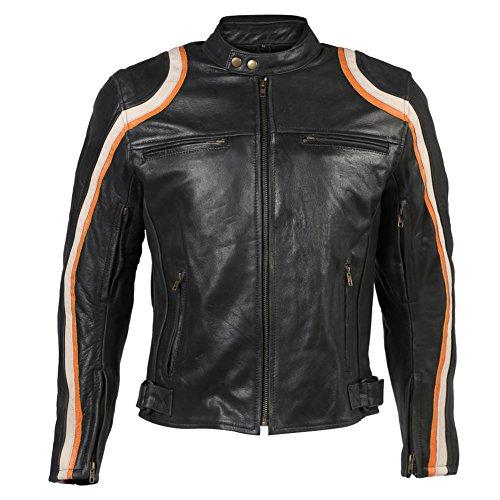 Turin - Motorradjacke für Rennen - Leder in Antik-Optik - Schwarz & Orange - EU 62 (Leder-nierengurt)