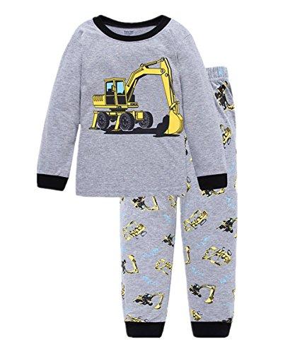 Little Hand Jungen Zweiteiliger Schlafanzug Baumwolle Lange Nachtwäsche Fahrzeug Bagger Kinder Pyjama, Grau-1, EU 98(2-3Jahre)=Tag 3Y