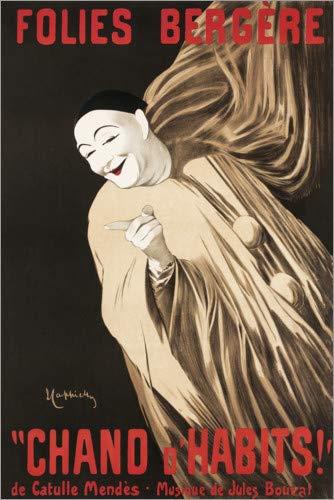 Posterlounge Hartschaumbild 120 x 180 cm: Follies Bergere (französisch) von Leonetto Cappiello/akg-Images (Französische Clown Pierrot Kostüm)