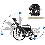 SZeao Funzionale Leggero Sedia a rotelle Pieghevole Portatile può metà Completamente reclinabili sdraiato Anziani e disabili Spinta Buco Moto WC