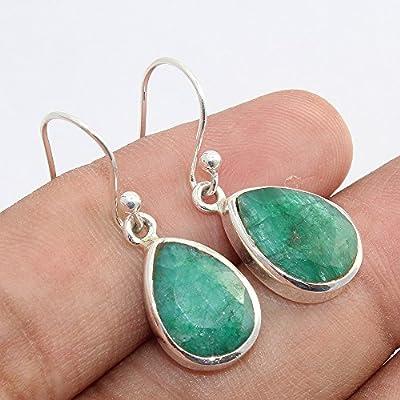 Boucles d'oreilles en argent sterling 925 avec pierres précieuses d'émeraude, boucles d'oreilles en argent pour cadeau de femme