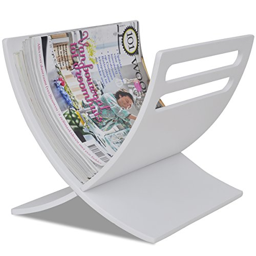 vidaXL Zeitungsständer Zeitschriftenhalter Magazinhalter Holz Weiß