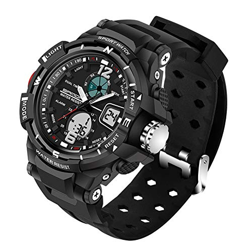 Multifunción Impermeable Deportivo Relojes/Cronógrafo/Luz LED/Reloj Ajustable A Prueba De Golpes(man,Black)