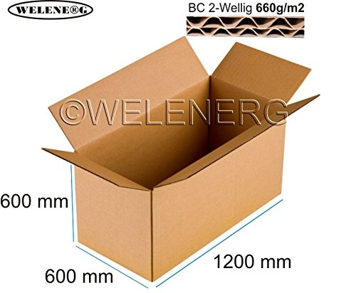 1 X 1200x600x600 Mm DHL Faltkartons Versandkarton Postkarton 2 Wellig BC 660g