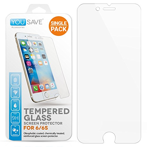 Yousave Accessories iPhone 6S / 6 Crystal Clear Tempered Glass Screen Protector [Ultra Thin 0.3mm / 9H Hardness Rating]