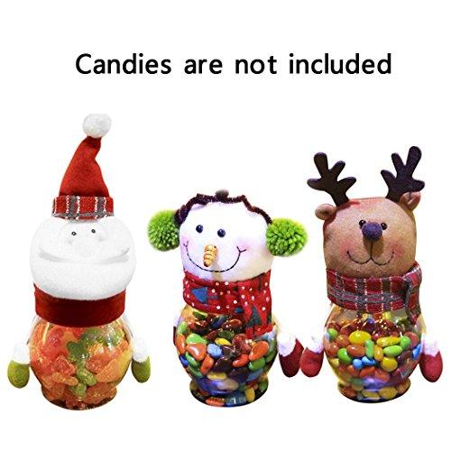 (Weihnachten Bonbonglas, GS 3 Stücke Plüsch Kunststoff Weihnachten Bonbonglas Kreative Geschenk Container für Hauptdekorationen)