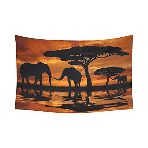 Robin Green Landscape Wall Art Home Decor, Afrikanische Tiere im Sonnenuntergang, Wandbehang, Kunst-Sets, 203,2 x 152,4 cm 90 X60 inch Multi 1