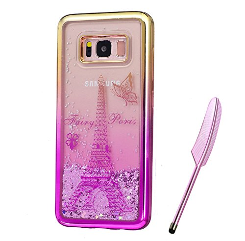 Galaxy S8 Plus Case, Gold Purple Plating Design, Edaroo 3d Cool Flowing Liquid Bling Sparkle Purple Glitter StyleBeautiful Pairs Tower Butterflies Pattern Slim Thin Fits Soft Rubber TPU Bumper Protective Case Cover for Samsung Galaxy S8 Plus