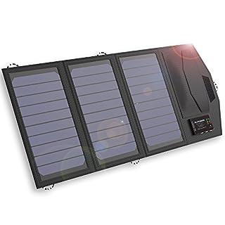 ALLPOWERS 15W Solar Ladegerät mit 6000mAh Akku, 3 USB Ports (USB-C und USB-A) SunPower Solarpanel Outdoor für iPhone 7 6s 6 Plus, iPad Air Mini, Samsung