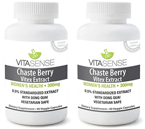 Doppel-Pack (Packung mit 2) Vitasense Mönchsbeere - Mönchspfeffer Extrakt mit Dong Quai 300mg - Gesundheit für Frauen PLUS - 90 veg. Kapseln