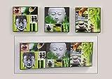 3er Set Bilder Buddha Bambus Steingarten Feng Shui Wandbilder auf Holz