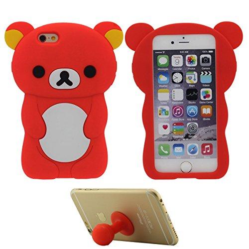 Pour Apple iPhone 7 Plus Charmant Ours Forme Mode Silicone Doux Coque Case Etui de Protection pour iPhone 7 Plus 5.5 inch ( Jaune ) avec 1 Silicone Titulaire rouge