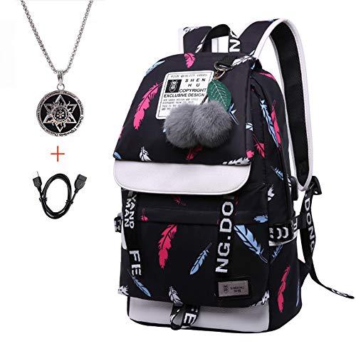 SNHQCL Schultasche, Reißverschluss Wasserdichter Leichter Rucksack Kindertasche Audio Port-D-(11.81X6.3X16.54in) Wasserdichte Audio
