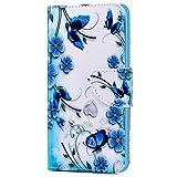 Kompatibel mit iPhone XR, Herbests Leder Tasche Flip Handyhülle Wallet Leder Klapphülle Brieftasche mit Kartenfach Handy Schutzhülle Book Case Lederhülle,Schmetterling Blumen