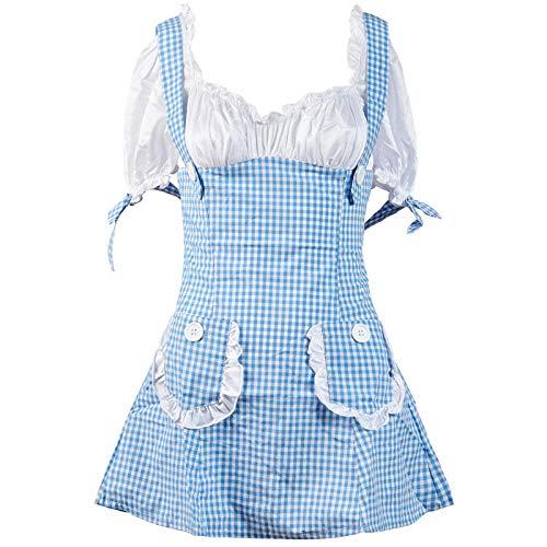Niedliche Super Kinder Kostüm - Poouoy Sexy Damenunterwäsche Sexy Anzug Lady Uniform Temptation Blue Plaid Niedliche Zwei Mädchen Kostüm @ Blue_L
