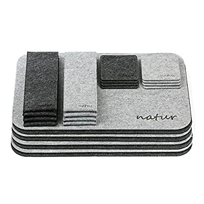 Natur® Menu felt dining table set with placemats, coasters, and cutlery pouch in set of 4