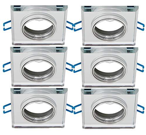 Trango Luxus - Juego de 6 apliques cuadrados con toma para LED,...