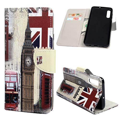 Kompatibel mit Samsung Galaxy A70 Hülle PU Lederhülle Flip Brieftasche Gemalt Muster Tasche Kartenhalter Magnetschnalle Ständer Stoßfest Kratzfest Stoßstange Schutzhülle Großbritannien