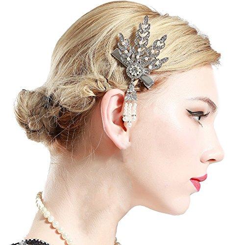 Kostüm Haar Flapper - Coucoland 1920s Stirnband Haarclips Blatt Muster Damen 20er Jahre Stil Elegant Haarspange Gatsby Kostüm Flapper Charleston Haar Accessoires (Silber)