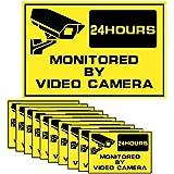 """Fuers - Lot de 10 Autocollants dissuasifs Alarme - Surveillance électronique, Autocollants / stickers Alarme sécurité, Panneau """"site surveillé par caméra vidéo"""" - Autocollant de dissuasion """"alarme surveillance électronique"""" """"Propriété sous vidéo surveillance"""""""