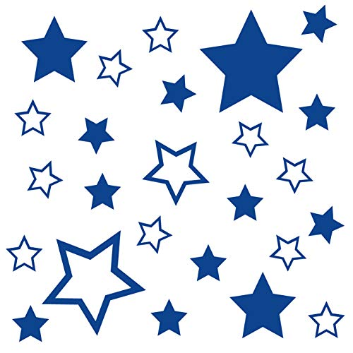 kleb-Drauf® | 25 Sterne | Blau - matt | Autoaufkleber Autosticker Decal Aufkleber Sticker | Auto Car Motorrad Fahrrad Roller Bike | Deko Tuning Stickerbomb Styling Wrapping