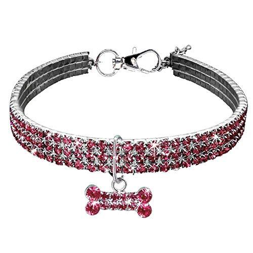 Hundehaustiere Halsbänder Crystal Strass Stretch Halsbänder Halskette mit Knochen Anhänger für kleine und mittlere Hunde (Pink, M) -