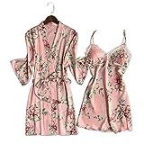 83fc2c6e7c YTFOPLK 2 Pz Raso Floreale Fresco Seta Abito Abito Sexy Set Accappatoi Donne  Kimono Vestaglia Pizzo