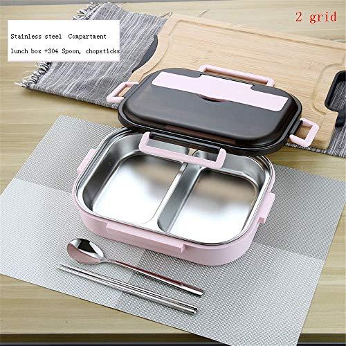 iHouse Brotdose Bento Box aus Edelstahl + Isolierverpackung, Siegel Auslaufsicher Geschirr, Isolierung tragbar Lebensmittelbehälter für Erwachsene, Kinder 1,2L 26,5 x 20,2 x 7,3 cm, 2 Gitter Pink -