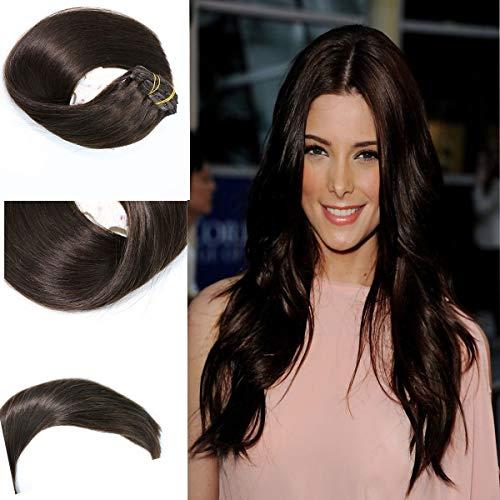 Remy Haar Echthaar Clip in Haarverlängerung 7pcs Pro Set 120G # 2 Dunkelbraun Haarverlängerungen Straight 100% Clip in Extensions Echthaar 18Zoll/45cm -