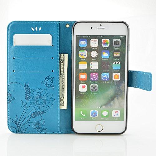 iPhone 8 Plus Hülle, Fraelc iPhone 7 Plus Premium Kunstleder Brieftasche Case im Bookstyle Flip Wallet Cover mit Kartenfächer und Standfunktion Leder Hülle für iPhone 7 Plus / iPhone 8 Plus Tasche in  Blau