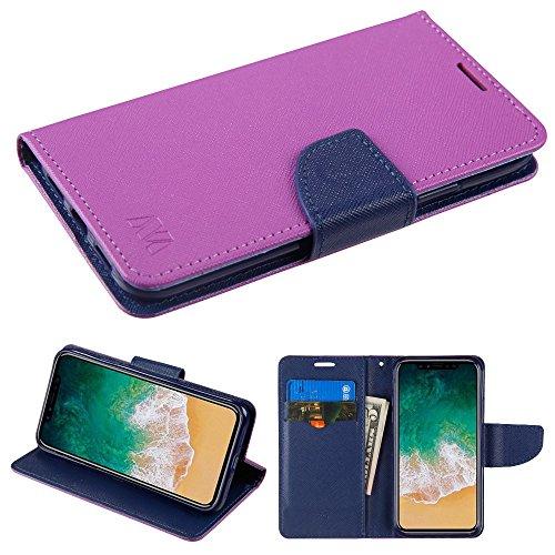 Fall + temperedglass Passt Apple iPhone X/10MYBAT Violett Muster/Dunkelblau Liner MyJacket Brieftasche (mit Kartenschlitz) -