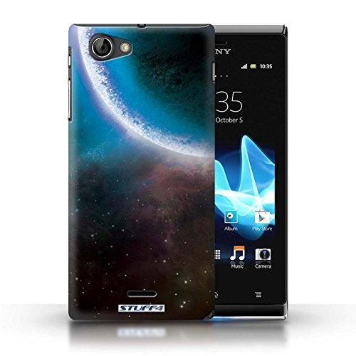 Kobalt® Imprimé Etui / Coque pour Sony Xperia J (ST26i) / Planète Verte conception / Série Cosmos Éclipse Bleu