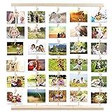 MOVEONSTEP Cornice Portafoto Multipla da Parete Legno Cornici per Appendere Foto e Lmmagini con 5 Corde Appese e 30 Clip