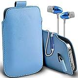 ( Baby Blue + Earphone ) Acer Liquid Z500 Premium Stylish Faux Leather Pull Tab Tasche Skin Case Cover mit Premium Qualität im Ohrhörer Stereo Freisprecheinrichtung Headset mit integriertem Mikrofon Mic und On-Off -Button von i-Tronixs