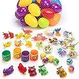 JamBer 36 jouets remplis d'œufs de Pâques, œufs de Pâques en plastique colorés brillants et préremplis avec 5 sortes de jouets populaires comme accessoires de fête