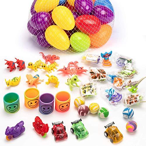 ereier Plastik Gefüllt Helle Bunte Vorgefüllte Kunststoff-Ostereier mit 5 Arten Spielzeuge für Kinder Kleinkinder als Party Favors Easter Egg Hunt Supplies ()