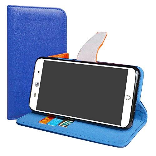 LiuShan WileyFox Swift 2 / Swift 2 Plus Hülle, Brieftasche Handyhülle Schutzhülle PU Leder mit Kartenfächer und Standfunktion für WileyFox Swift 2 / Swift 2 Plus Smartphone,Deep Blue
