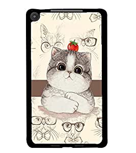 PrintDhaba Cute Kitty D-4031 Back Case Cover for ASUS GOOGLE NEXUS 7 2013 (Multi-Coloured)