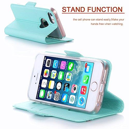 Coque iPhone SE, Coque iPhone 5S, Coque iPhone 5, Fyy® [Rose Or] Étui en cuir PU de première qualité avec Coverture Toute-Puissante pour Apple iPhone SE/5S/5 Bleu Foncé G-Vert Menthe
