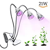21W LED Grow Lights, Triple Head Plant Grow Light Red Blue Hydroponic Plant Growing Lamp with 360 Degree Adjustable Flexible Gooseneck & 3 Separate Control Switches for Indoor Greenhouse Hydroponics Garden Plants (UK Plug)