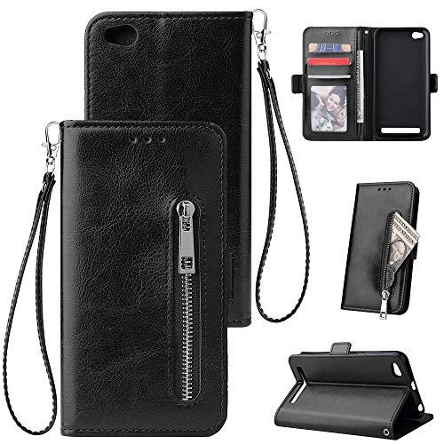 FNBK Kompatibel mit Hülle Xiaomi Redmi 5A Handyhülle Leder Handytasche Reißverschluss Brieftasche Flip Case Slim Luxus Schutzhülle Handschlaufe Kredit Karten Magnetische Ständer,Schwarz