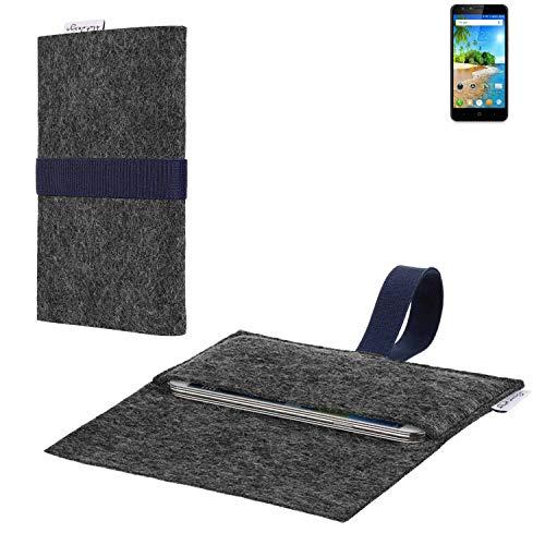 flat.design vegane Handy Hülle Aveiro für Doogee Y6C passgenaue Filz Tasche Case Sleeve Made in Germany