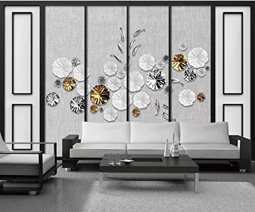 Carta da parati 3d stoffa tridimensionale in stile cinese loto semplice pesce rosso oro murales da parete decorazione murale