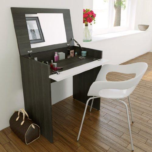 Nexera 402333 221633 Spiegel, auch Schreibtisch, Ebenholz und Weiß, lackiert matt - Ebenholz Lackiert