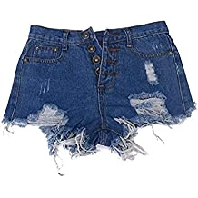 Minetom Preis Damen Jeans Shorts Hot Pants Mädchen Destroyed-Look Used-Look  kurz Mini 853e6fd119
